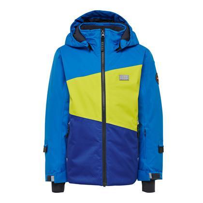 blue and yellow lego ski jacket
