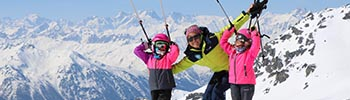 Call to action button ski lessons and equipment hire