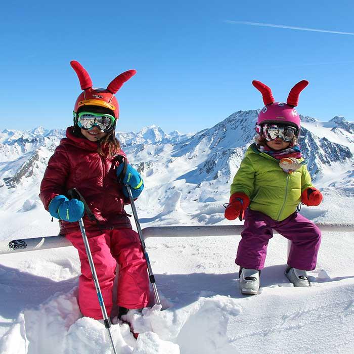 happy children during ski lessons